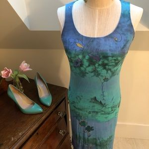 Blue green and gold sleeveless party dress